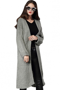 Womens Loose Long Sleeve Plain Knee Length Cardigan Sweater Light Gray