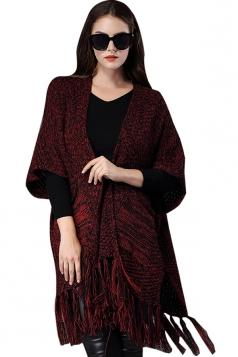 Womens Fringe Pockets Loose Cardigan Sweater Poncho Ruby