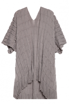 Womens Half Sleeve Loose Plain Fringe Cardigan Sweater Gray