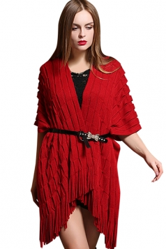Womens Half Sleeve Loose Plain Fringe Cardigan Sweater Red