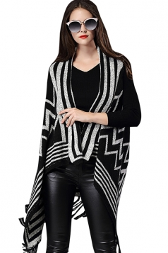 Womens Fringe Irregular Wave Pattern Shawl Cardigan Sweater Black