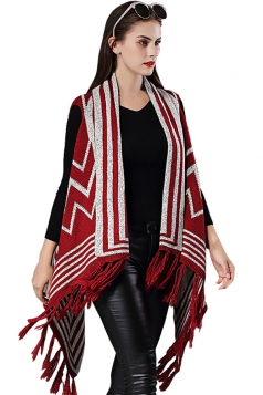 Womens Fringe Irregular Wave Pattern Shawl Cardigan Sweater Red