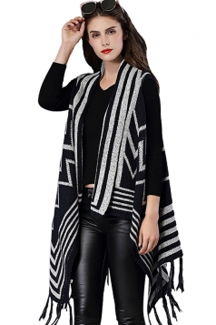 Womens Fringe Irregular Wave Pattern Shawl Cardigan Sweater Navy Blue