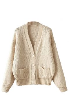 Womens Mohair Single-breasted Long Sleeve Cardigan Sweater Beige