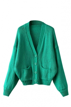 Womens Mohair Single-breasted Long Sleeve Cardigan Sweater Green