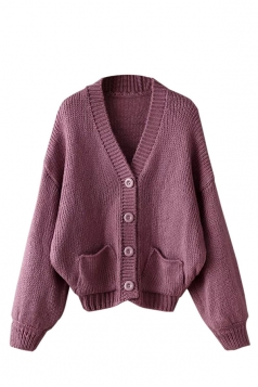 Womens Mohair Single-breasted Long Sleeve Cardigan Sweater Purple