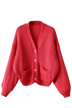 Womens Single-breasted Long Sleeve Cardigan Sweater Watermelon Red