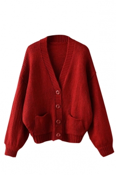 Womens Mohair Single-breasted Long Sleeve Cardigan Sweater Ruby