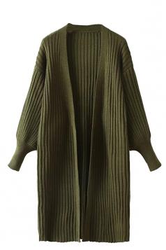 Womens Plain Puff Sleeve Midi Cardigan Sweater Army Green