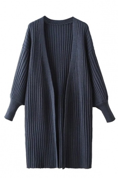 Womens Plain Puff Sleeve Midi Cardigan Sweater Navy Blue