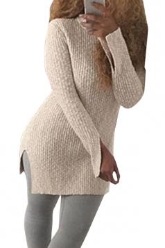 Womens Mock Neck Side Slit Long Sleeve Pullover Sweater Beige