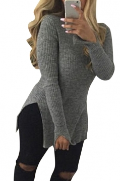 Womens Mock Neck Side Slit Long Sleeve Pullover Sweater Gray