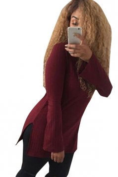 Womens Mock Neck Side Slit Long Sleeve Pullover Sweater Ruby