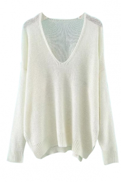 Womens V Neck Plain Side Slit Long Sleeve Pullover Sweater White