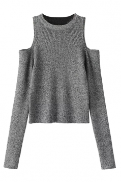 Womens Cold Shoulder Plain Long Sleeve Pullover Sweater Gray