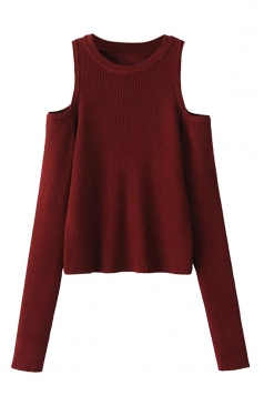 Womens Cold Shoulder Plain Long Sleeve Pullover Sweater Ruby