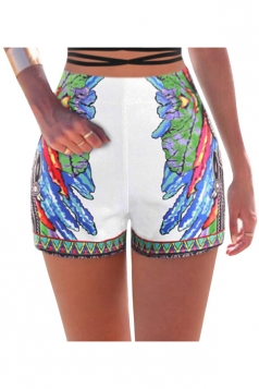 Womens High Waist Exotic Wings Printed Mini Shorts Blue