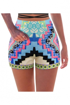 Womens High Waist Exotic Geometric Printed Mini Shorts Light Blue