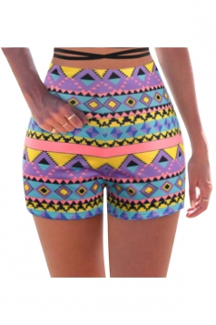 Womens High Waist Exotic Geometric Printed Mini Shorts Light Purple