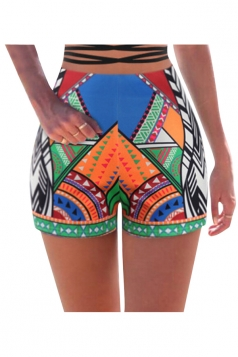 Womens High Waist Exotic Geometric Printed Mini Shorts Sapphire Blue