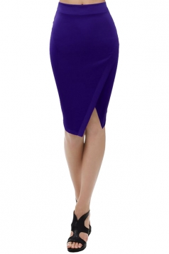 Womens Plain Side Slit Bodycon Pencil Skirt Blue
