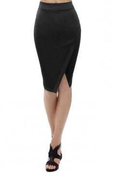 Womens Plain Side Slit Bodycon Pencil Skirt Black