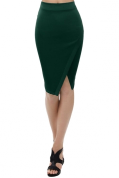 Womens Plain Side Slit Bodycon Pencil Skirt Dark Green