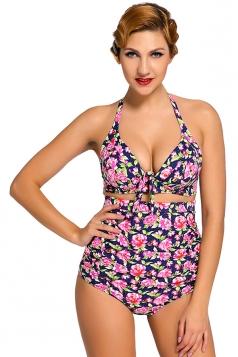 Womens Floral Plus Size Halter Top&High Waist Bottom Swimsuit Pink