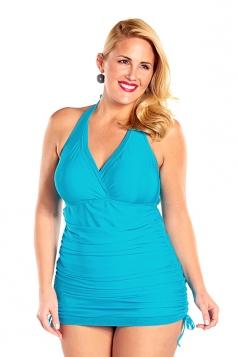 Womens Halter Drawstring Side Tankini Top&Swimsuit Bottom Blue