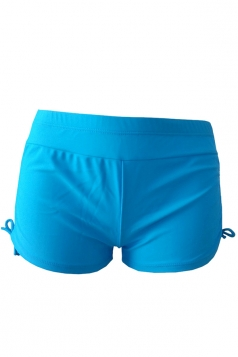 Womens Drawstring Plain Swimsuit Bottom Blue
