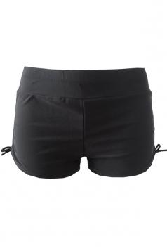 Womens Drawstring Plain Swimsuit Bottom Black