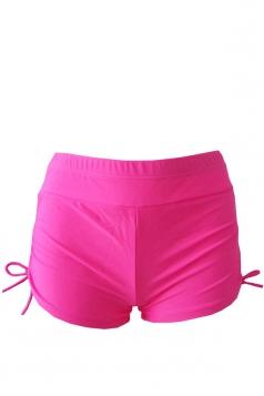 Womens Drawstring Plain Swimsuit Bottom Rose Red