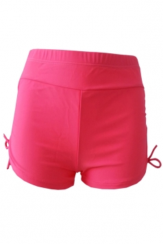 Womens Drawstring Plain Swimsuit Bottom Watermelon Red