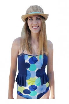Womens Halter Flower Printer Ruffle One Piece Swimsuit Blue