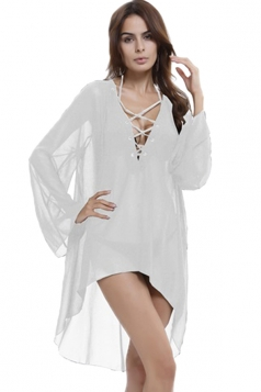 Womens Sheer Long Sleeve Lace-Up Halter High Low Beach Dress White