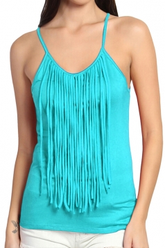 Womens Fringed Sleeveless Plain Camisole Top Light Blue