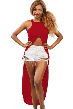 Womens High Low Sleeveless Plain Crop Top Red