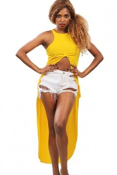 Womens High Low Sleeveless Plain Crop Top Yellow