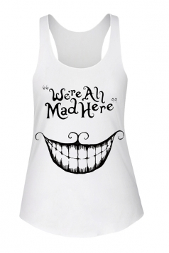 Womens U Neck Simple Smile Printed Sleeveless Tank Top White
