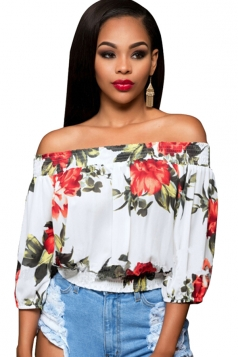 Womens Off Shoulder Floral Printed 3/4 Length Sleeve Top Red