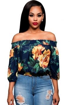 Womens Off Shoulder Floral Printed 3/4 Length Sleeve Top Navy Blue