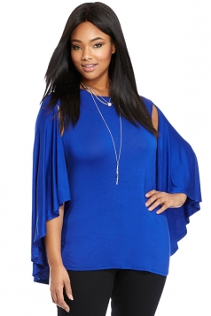 Womens Plus Size Plain Open Sleeve Cloak T Shirt Blue