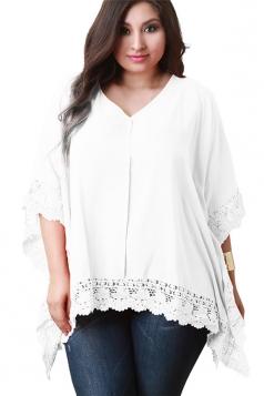 Womens Plus Size V Neck Lace Trim Plain T Shirt Beige White
