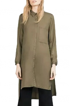 Womens High Low Side Slit Long Sleeve Plain Blouse Army Green