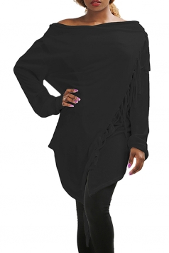 Womens Asymmetric Tassel Long Sleeve Plain Cardigan Black