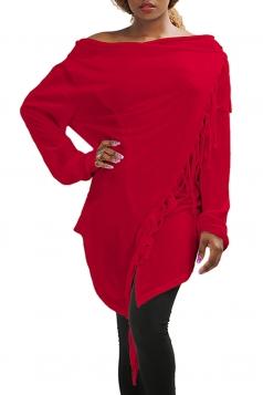 Womens Asymmetric Tassel Long Sleeve Plain Cardigan Red