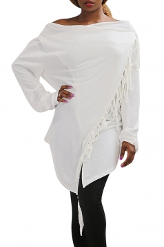 Womens Asymmetric Tassel Long Sleeve Plain Cardigan White