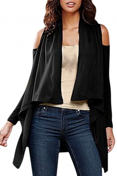 Womens Cold Shoulder Long Sleeve Asymmetric Plain Cardigan Black