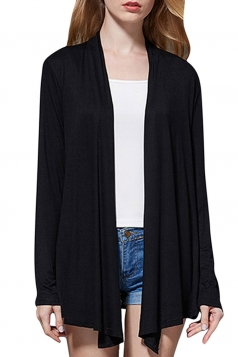 Womens Elegant Plain Long Sleeve Thin Cardigan Black