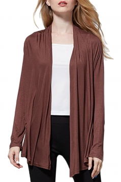 Womens Elegant Plain Long Sleeve Thin Cardigan Coffee